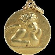 SALE Vintage Art Nouveau Angel Pendant in 18k Gold by Edmond Henri Becker