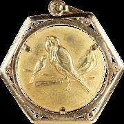 SALE Vintage 18k Gold Birds Pendant, European c.1950