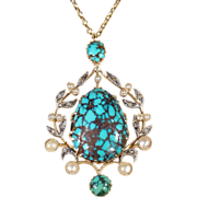 SALE Antique Turquoise, Diamond and Pearl Pendant in 18k Gold with Wreath Motif