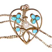 SALE Clearance Sale!! - Antique Edwardian Pearl and Turquoise Heart Pendant on Chain, 9k Gold