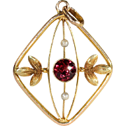Antique Edwardian Garnet and Pearl Pendant in 9k Gold