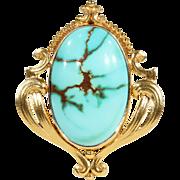 Antique Art Nouveau Turquoise and Gold Pendant, 15k Gold