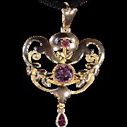 Antique Art Nouveau Pendant in 9k Gold, English c. 1900