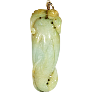 Vintage Jade Corn and Bat Pendant with 18k Gold Wire