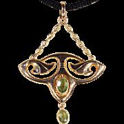 Antique Art Nouveau Peridot Pendant in 9k Gold, English c. 1900