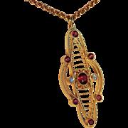 Antique Art Nouveau Garnet and Diamond Pendant in 15k Gold