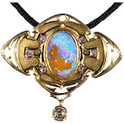 Important Antique Art Nouveau Opal and Diamond Brooch Pin Pendant Retailed by F. W. Drosten Je