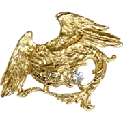 Fabulous Antique 18k Gold Griffin Pendant with Diamond