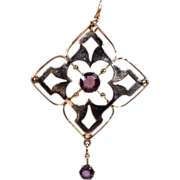 Antique Edwardian Amethyst and Gold Lavalier Pendant