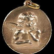 SALE PENDING Vintage 'Raphael' Angel Pendant, 18k Rose Gold, Large!