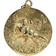 Antique French 18k Gold Pendant with Hunting Scene