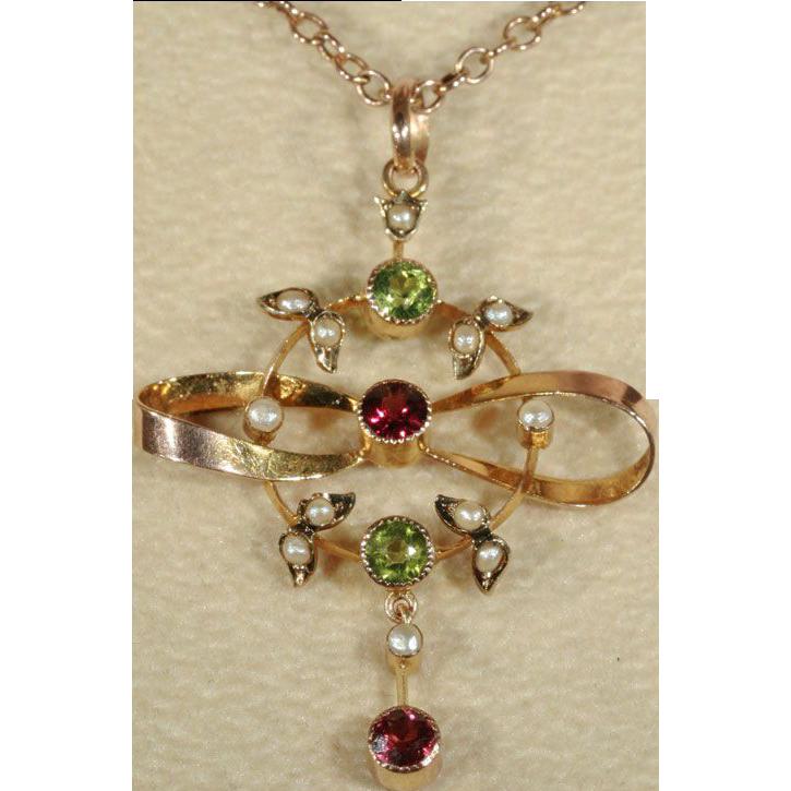 Antique Edwardian Peridot, Garnet and Pearl Pendant Lavalier, 9k Gold c. 1910
