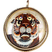 SALE Antique Essex Crystal Tiger in 9kt Gold Frame
