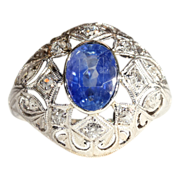 SALE Antique Edwardian Sapphire and Diamond Dome Ring, *VIDEO*