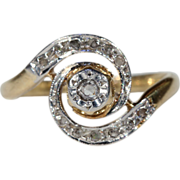 SALE Antique French 18k Gold & Platinum Swirly Ring with Rose Cut Diamonds