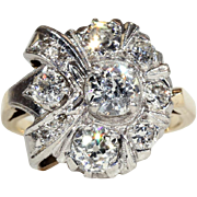 SALE Vintage Art Deco Diamond Cluster Ring with 1.9ctw, 14k & 18k Gold c ...