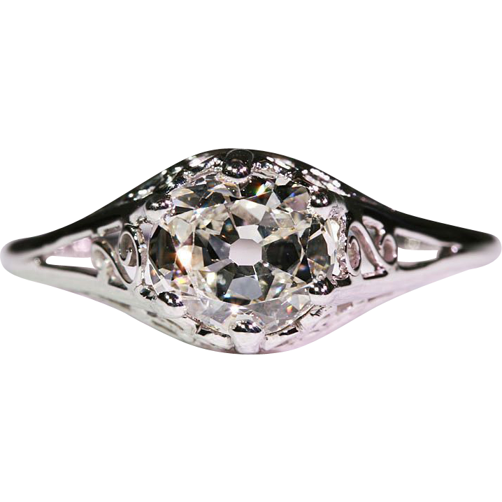 Vintage 14k White Gold 1.26 carat Cushion Cut Diamond Solitaire Engagement Ring