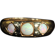 SALE Antique Victorian 3 Stone Opal Ring in 9k Gold