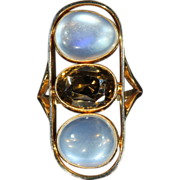 SALE Large Antique Arts & Crafts Moonstone and Citrine Ring in 14k Gold, *VIDEO*