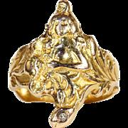SALE Antique Art Nouveau 18k Diamond Lady and Flowers Ring