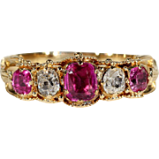 Early Victorian Ruby and Diamond 5 Stone Ring in 18k Gold