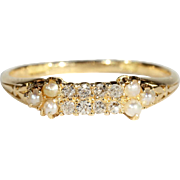 SALE Antique Edwardian Diamond and Pearl Ring in 18k Gold