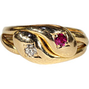 Antique Ruby Diamond Double Snake Ring, 18k Gold Hallmarked 1891