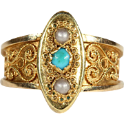 SALE Antique Scandinavian Pearl and Turquoise Filigree Gold Ring