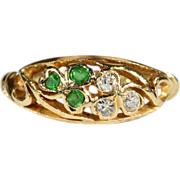 Antique Edwardian Demantoid Garnet and Diamond Clover Motif Ring in 18k Gold