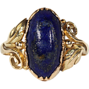SALE Antique Lapis Ring, Scandinavian in 14k Gold c. 1915