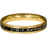 "SALE Antique Enamel Georgian Memorial Band Ring, 18k Gold ""Bush"" c. 1785"