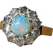 Stunning Antique 3ctw Diamond & Opal Cluster Ring, French c. 1890, *Video*