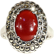 SALE Vintage Art Deco Silver Carnelian and Marcasite Ring c.1920