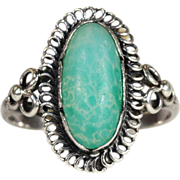SALE Antique Arts and Crafts Chalcedony Ring in Silver, c. 1910