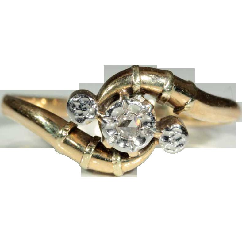 Antique 18k and Platinum European Art Nouveau Rose Cut Diamond Ring c.1900