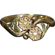 SALE Antique French Pearl Bypass Ring in 18k Gold