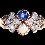 SALE Antique Sapphire, Pearl and Rose Cut Diamond Ring, 18k & Platinum c. 1905