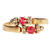 SALE 18k Gold Ruby and Diamond Twinkle Bypass Ring
