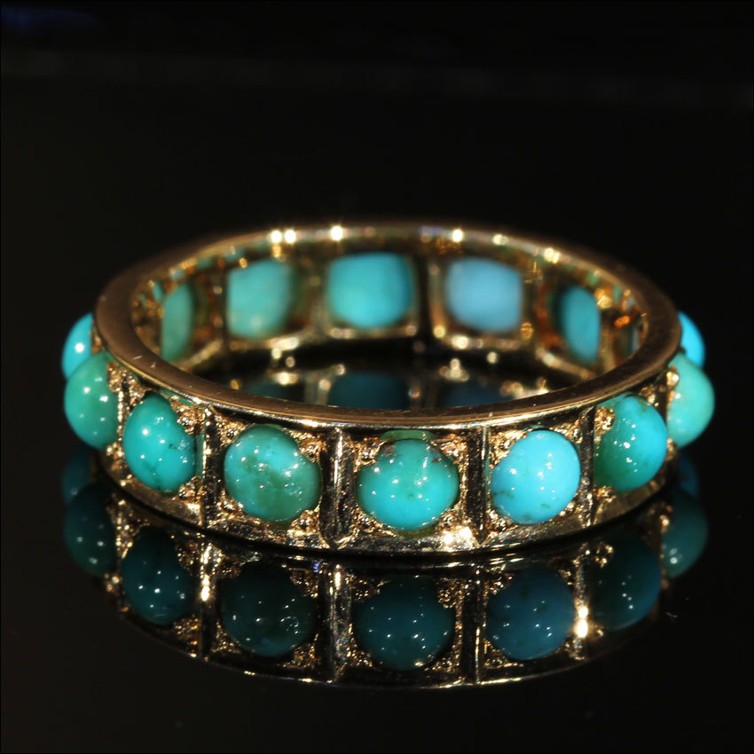 Rare Antique Turquoise Eternity Band in 15k Gold, size 5