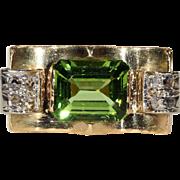 SALE Vintage Retro Peridot and Diamond Ring, 18k Gold, *VIDEO*