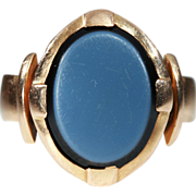 SALE Antique Arts & Crafts Oval Agate Men's Ring in 18k Gold