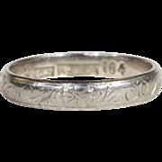 SALE Antique Edwardian Engraved Platinum Wedding Band, Size 6.5 US