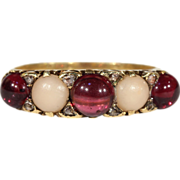 SALE Antique Victorian Cabochon Garnet, Coral and Diamond Ring in 18k Gold