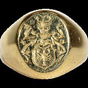 SALE Antique Polish Warnia Clan Intaglio Ring in 18k Gold