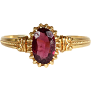 SALE Antique French Garnet Solitaire Ring in 18k Gold, Engagement