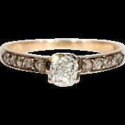 SALE Antique Diamond Engagement Ring, Dutch c. 1875 in 14k Gold, *VIDEO*