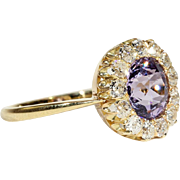 Antique Purple Spinel and Diamond Cluster Ring in 18k Gold, Victorian