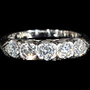 SALE PENDING Fantastic Vintage 5 Stone Diamond Ring in Platinum, 1ctw, c.1950, *VIDEO*