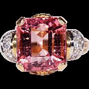 Juicy Pink Tourmaline and Diamond Retro Cocktail RIng, c. 1950, *Video*