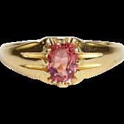 Antique Pink Tourmaline Ring, Belcher Set in 18k Gold